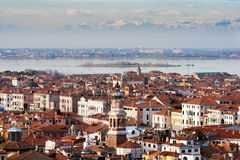 Venice Italy Alps. View on Venice with in the background the European alps royalty free stock photography