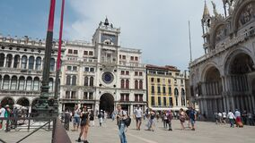 Venice, Italy. Amazing landscape of San Marco square during Covid-19 or Coronavirus time. Very few tourists in the square