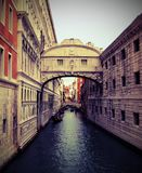 Venice in Italy Ancient Bridge of Sighs and ancient Ducal Palace. With vintage effect Royalty Free Stock Images