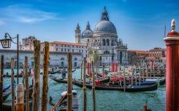 Gondolas in Venice with Basilica di Santa Maria della Salute stock images