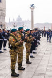 VENICE, ITALY-APRIL 25, 2017: military parade in the Piazza San Royalty Free Stock Images