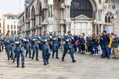 VENICE, ITALY-APRIL 25, 2017: military parade in the Piazza San Stock Photo