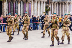 VENICE, ITALY-APRIL 25, 2017: military parade in the Piazza San Royalty Free Stock Image