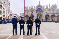 VENICE, ITALY-APRIL 25, 2017: military parade in the Piazza San Stock Photography