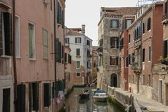 Typical picturesque romantic Venetian canal - Venice, Italy Royalty Free Stock Image