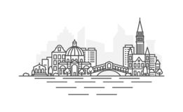 Venice, Italy architecture line skyline illustration. Linear vector cityscape with famous landmarks, city sights, design. Icons. Landscape with editable strokes stock illustration