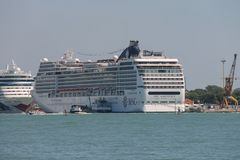 Big cruise liner ships in the Adriatic Sea, Venice, Italy Royalty Free Stock Photo
