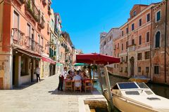 Venice, Italy - August 14, 2017: The cozy cafes of Venice. Venice, Italy - August 14, 2017 The cozy cafes of Venice Stock Image