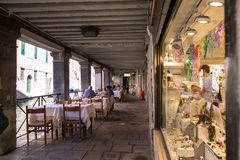 Venice, Italy - August 14, 2017: The cozy cafes of Venice. Stock Photo