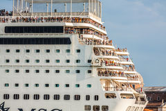 Venice, Italy,August 9, 2013:The cruise ship crosses the Venetia Stock Photos