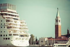 Venice, Italy,August 9, 2013:The cruise ship crosses the Venetia Stock Photography