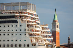 Venice, Italy,August 9, 2013:The cruise ship crosses the Venetia Royalty Free Stock Photos