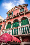 VENICE, ITALY - AUGUST 17, 2016: Famous architectural monuments and colorful facades of old medieval buildings close-up Royalty Free Stock Photos