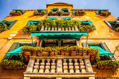 VENICE, ITALY - AUGUST 20, 2016: Famous architectural monuments and colorful facades of old medieval buildings close-up. On August 20, 2016 in Venice, Italy stock photos
