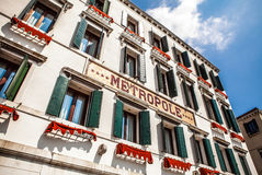 VENICE, ITALY - AUGUST 20, 2016: Famous architectural monuments and colorful facades of old medieval buildings close-up Royalty Free Stock Photos
