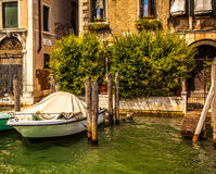 VENICE, ITALY - AUGUST 19, 2016: Famous architectural monuments and colorful facades of old medieval buildings close-up. On August 19, 2016 in Venice, Italy Royalty Free Stock Image