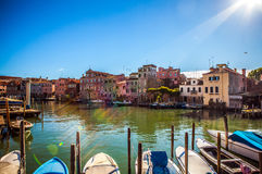 VENICE, ITALY - AUGUST 19, 2016: Famous architectural monuments and colorful facades of old medieval buildings. Close-up on August 19, 2016 in Venice, Italy Royalty Free Stock Images