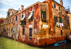 VENICE, ITALY - AUGUST 17, 2016: Famous architectural monuments and colorful facades of old medieval buildings close-up on August. 17, 2016 in Venice, Italy royalty free stock photos