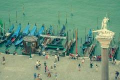 Venice, Italy,August 9, 2013: Gondolas wait for passengers at Pl Stock Image