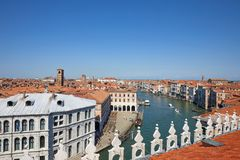 Grand canal view from Fondaco dei Tedeschi terrace in a sunny summer day in Italy stock images