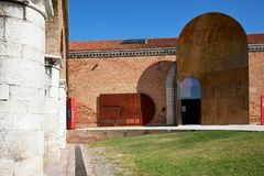 Italian pavilion entrance during art biennial in Venice, Italy royalty free stock photography