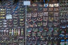 Venice, magnet souvenirs background in shape of gondola, Saint Mark basilica, masks in Venice stock images