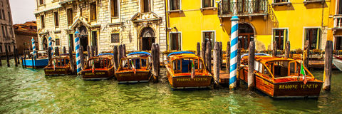 VENICE, ITALY - AUGUST 19, 2016: Panoramic view on the cityscape of Grand Canal on August 19, 2016 in Venice, Italy Royalty Free Stock Image
