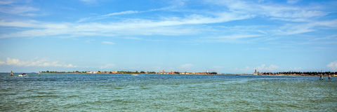 VENICE, ITALY - AUGUST 19, 2016: Panoramic view on the cityscape of Grand Canal on August 19, 2016 in Venice, Italy Stock Photography