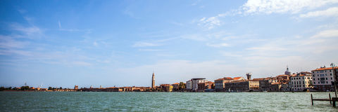 VENICE, ITALY - AUGUST 19, 2016: Panoramic view on the cityscape of Grand Canal on August 19, 2016 in Venice, Italy Royalty Free Stock Photo