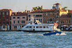 Tourist boat in Venice lagoon, Italy. Venice, Italy - August 13, 2016: Tourist boat in Venice lagoon Royalty Free Stock Photos
