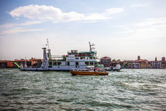 VENICE, ITALY - AUGUST 17, 2016: Vaporetto (passanger boat) at Grand Canal in Venice on August 17, 2016 in Venice, Italy Stock Photography