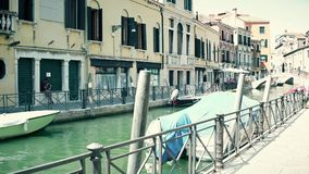 VENICE, ITALY - AUGUST 8, 2017. Venetian canal embankment Royalty Free Stock Photos