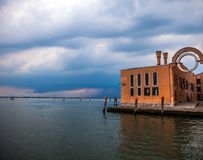 VENICE, ITALY - AUGUST 19, 2016: View on the cityscape of Grand Canal against storm clouds a day before occurred earthquakes in th Stock Photography