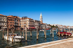 VENICE, ITALY - AUGUST 20, 2016: View on the cityscape of Grand Canal and islands of Venetian lagoon on August 20, 2016 in Venice. Italy Royalty Free Stock Images