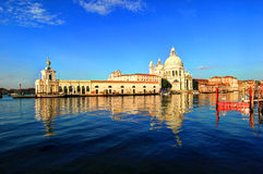 Venice, Italy. Basilica de Santa Maria Della Salute and Grand Canal in Venice, Italy Stock Images