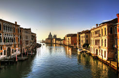 Venice, Italy. Basilica de Santa Maria Della Salute and Grand Canal in Venice, Italy Stock Photos