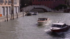 Venice Italy, boats on Canal stock footage