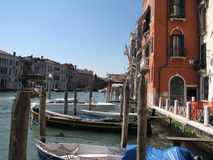 Venice italy with boats. On the sea Royalty Free Stock Photos