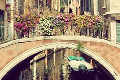 Venice, Italy. A bridge over Grand Canal. Vintage stock photography