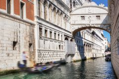 Venice, Italy. The Bridge of Sighs and gondola Royalty Free Stock Image