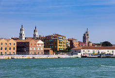 Venice. Italy. Bright ancient buildings ashore Canal Grande Royalty Free Stock Images