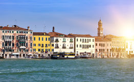 Venice. Italy. Bright ancient buildings ashore Canal Grande Royalty Free Stock Image