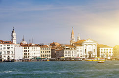 Venice. Italy. Bright ancient buildings ashore Canal Grande Stock Photography
