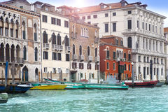 Venice. Italy. Bright ancient houses along Canal Grande Stock Photo