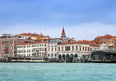 Venice. Italy. Bright ancient houses along Canal Grande Royalty Free Stock Photo