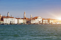 Venice. Italy. Bright ancient houses. Canal Grande Royalty Free Stock Photos