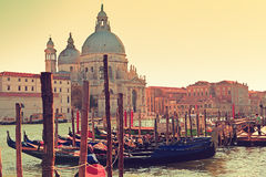 Venice Italy Canal Grande Gondola and Salute Royalty Free Stock Photo