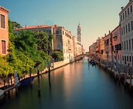 Canal navigable and the old Church in Venice Italy. Venice Italy Canal navigable and the old Church called San Giorgio dei Gregi Stock Photo