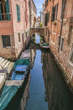 Venice, Italy - the canal with some boats. Stock Photography
