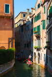 Venice. Italy. The Canals Of Venice.Gondola floating in the channel Royalty Free Stock Photo